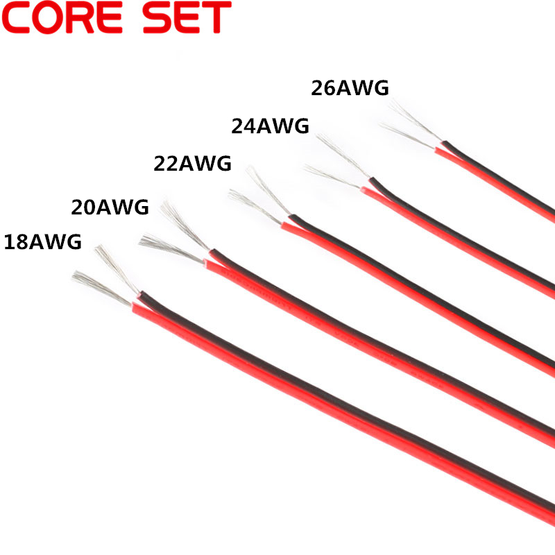10 Meters 18/20/22/24/26 Gauge AWG Electrical Wire Tinned Copper Insulated PVC Extension LED Strip Cable Red Black Wire
