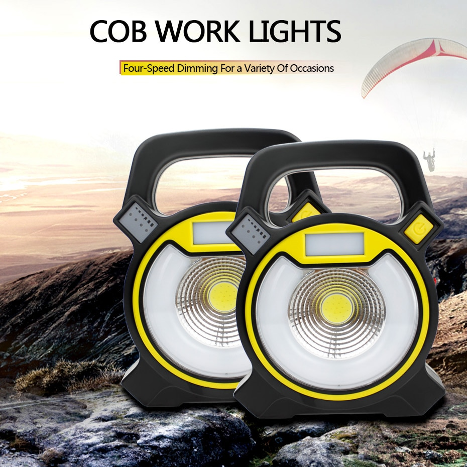 15W Recharge Portable COB LED Floodlight 18650 Battery Work Light Emitting White + Red/Blue Flash