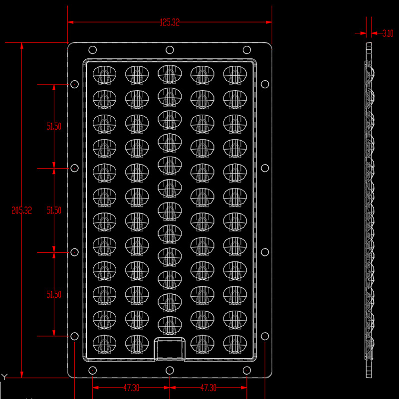 205x125mm LED Module Lens 5x12 pcs LEDs For SMD 3030
