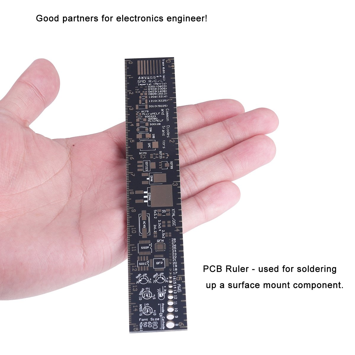 B37 6 Inch 15cm PCB Ruler Measuring Tool Soldering Up Surface for Electronic Engineers/Makers