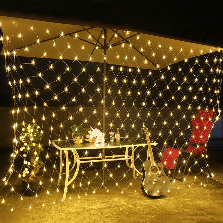 Plug Powered LED Net Curtain Light String 2M 110V/220V