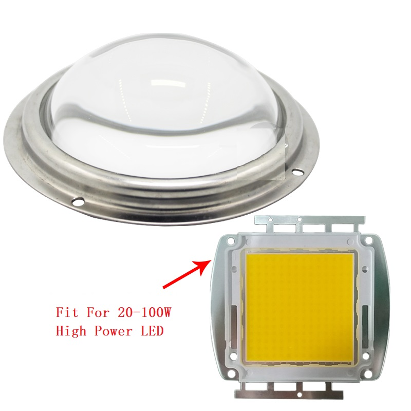 66 /78 /100mm Optical Glass LED Lens + Waterproof Pressure Silicone Ring + Stainless Steel Fixing Bracket fit for 50/100/ 200W High Power LED