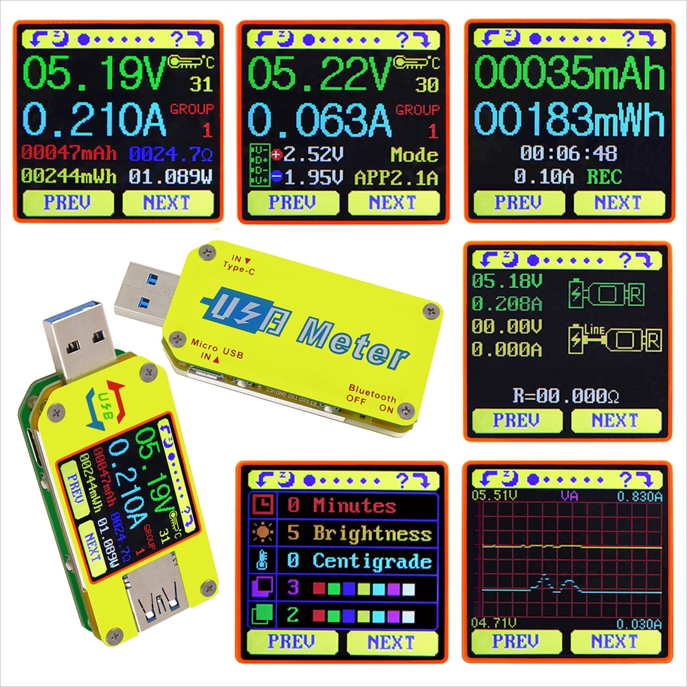 AT34 UM34/UM34C UM24/UM24C UM25/UM25C LCD Display USB Voltage Tester