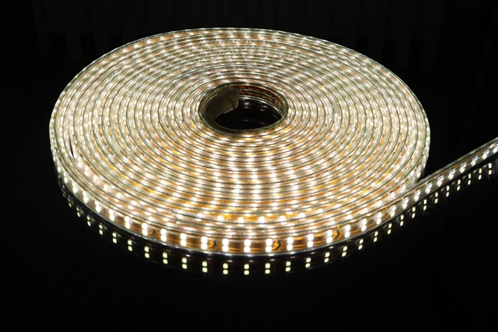 AC 220V 2835 SMD LED Flexible Strip 156LEDs/m Double Row High Bright Gold PCB Emitting White/Warm White/Blue/Red/Green