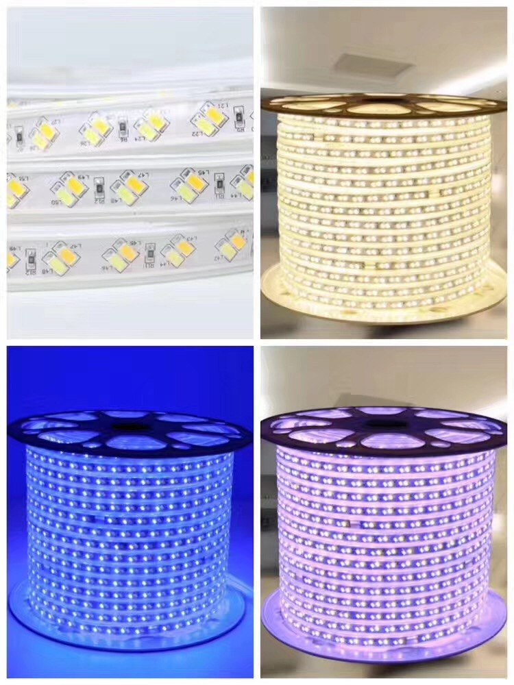 AC 220V 5730 SMD LED strip Dual White Dimmable Flexible Tape Light 120leds/m Emitting White & Warm White