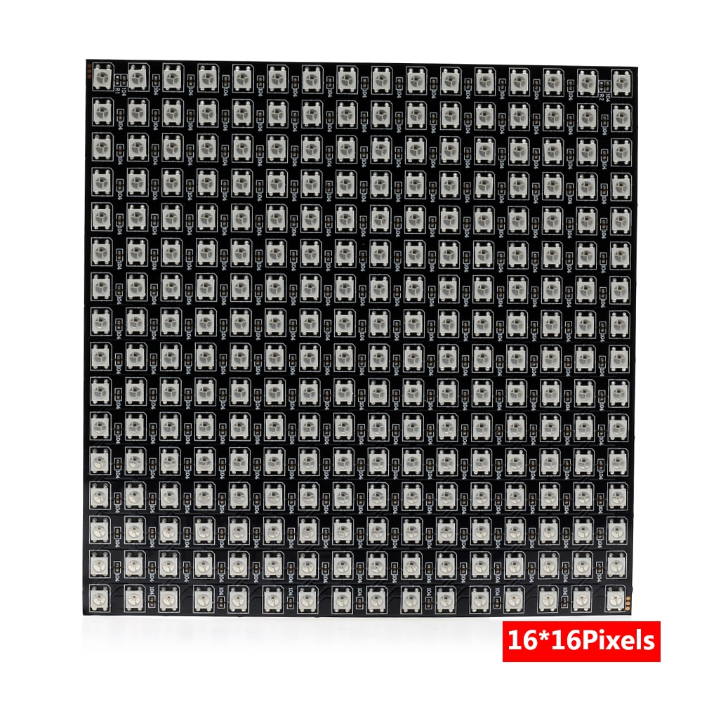 DC5V SMD 5050 RGB WS2812 Full Color Flexible Pixel Panel Screen Size 8*8 / 16*16 /8*32 64/256LEDs