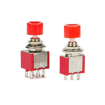 PS-102 202 Push-button Switch with Circular Red Cap Self-reset Button 3P/6P