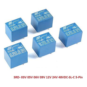 SONGLE Mini Power Relays SRD-03V 05V 09V 12V 24VDC-SL-C 5Pin 10A