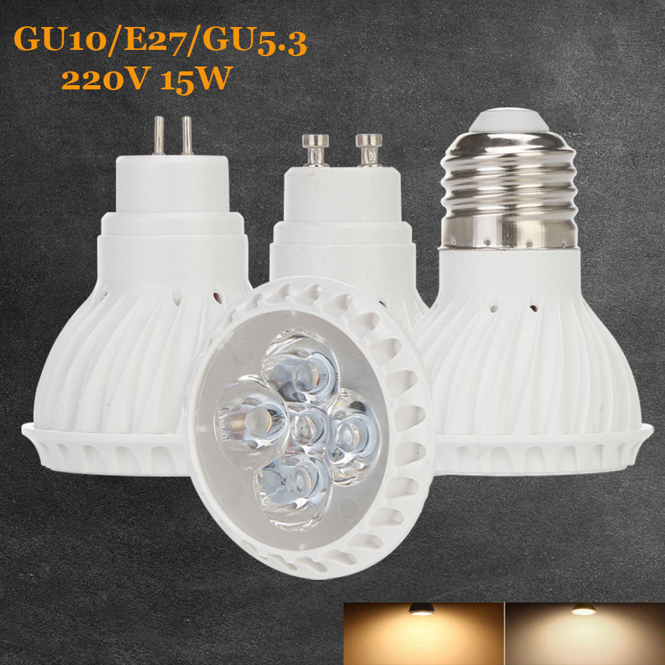 15W E27 GU10 GU5.3 2835 SMD LED Bulb Lamp AC220V Home Light Aluminum Dimmable Spotlight