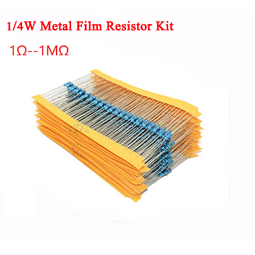 1/4W 1% Metal Film Resistor Kit 1Ω -- 1MΩ 25 Values*50