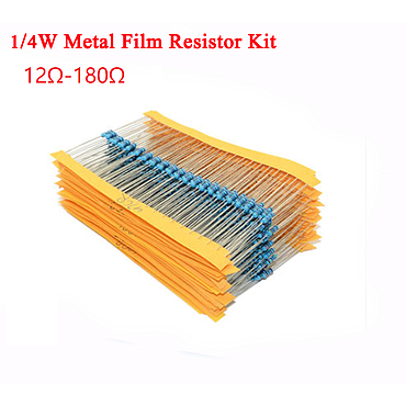 1/4W 5% Metal Film Resistor Kit 12 Ohm to 180 Ohm 23 Values*10