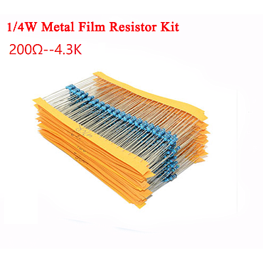 1/4W 5% Metal Film Resistor Kit 200Ω -- 4.3K 25 Values*10