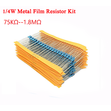 1/4W 5% Metal Film Resistor Kit 75KΩ -- 1.8M 24 Values*10