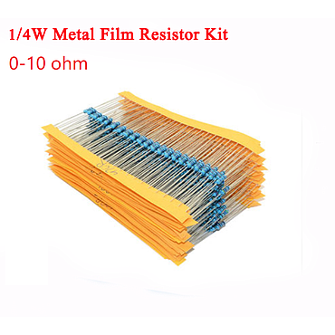 1/4W Metal Film Resistor Kit ±1% Tolerance 0 Ohm to 10 Ohm 18 Values /180pcs