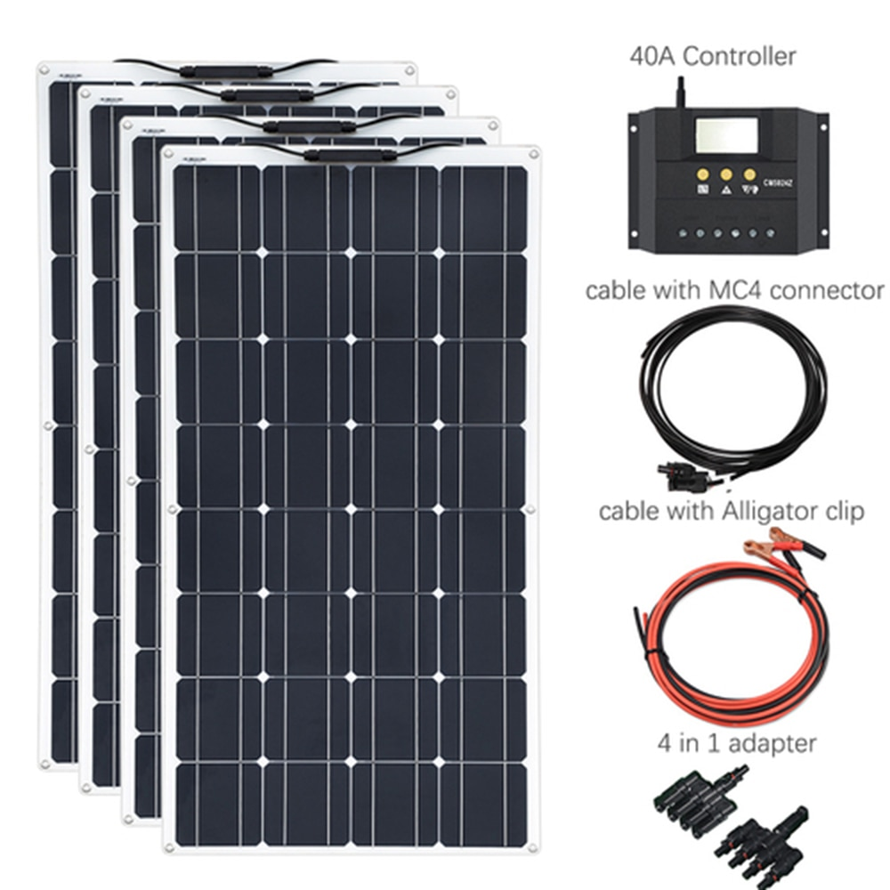 400W Solar System 100W Solar Panel 40A Solar Controller Cable 4 in 1 Adapter