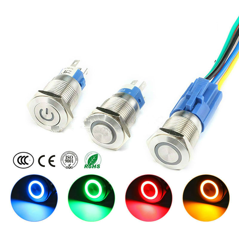 19MM Waterproof Metal Button Switch Self-lock Self-reset with LED Light