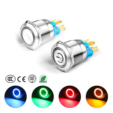 22MM Waterproof Metal Button Switch Self-lock Self-reset with LED Light