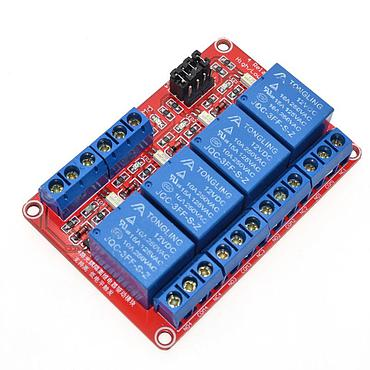 4 Channel Relay Module with Optocoupler Isolation Supports High and Low Trigger 5V 12V 24V