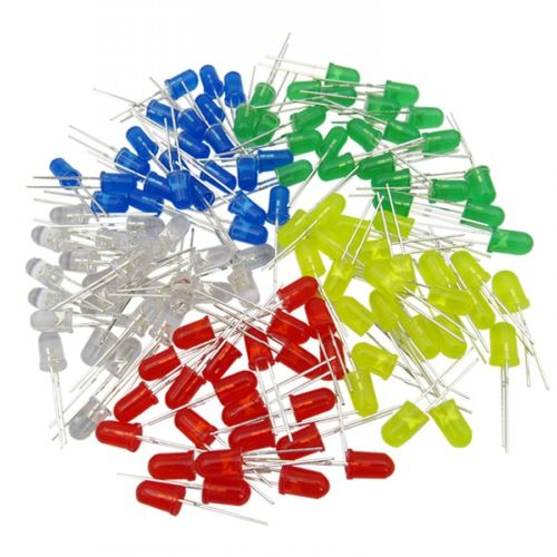5MM Light Emitting Diode LED Red Green Yellow Blue White DIY LEDs Kit 100pcs