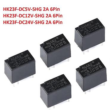 6-Pin Mini Power Relay HK23F-DC5V 12V 24V 2A Replace G5V-1-5VDC