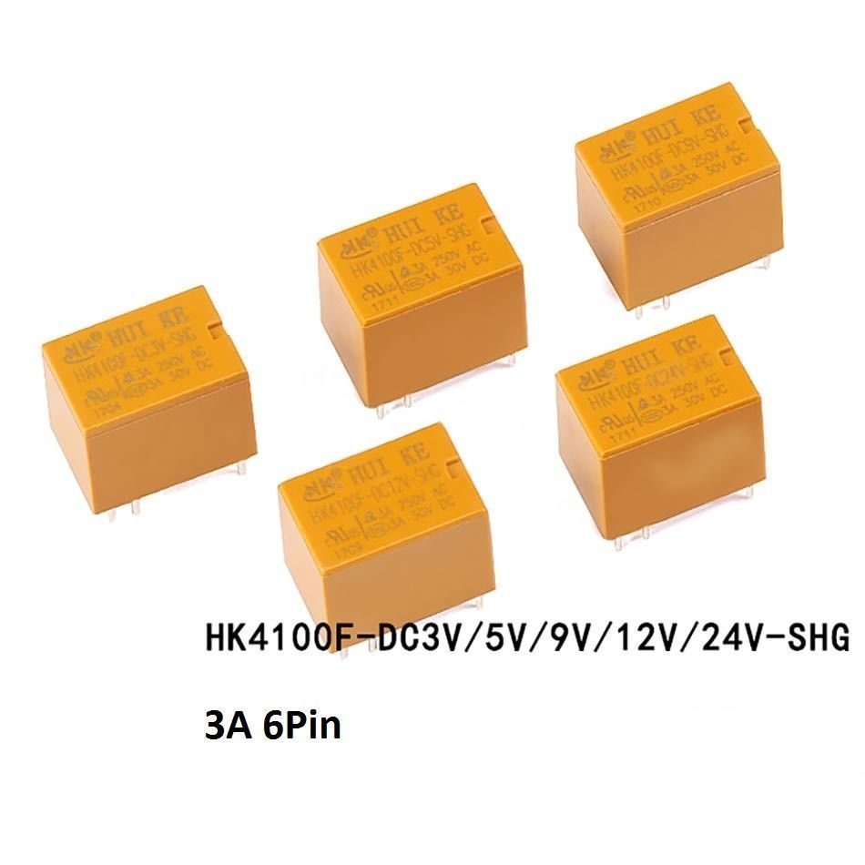 6 Pin Mini Power Relay HK4100F-DC3V 5V 9V 12V 24V-SHG 3A 4100 Yellow