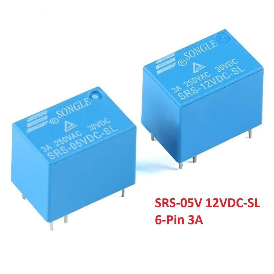 6 Pin Mini Power Relay SRS-05V 12V 3A 4100 Relays PCB