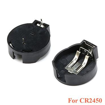 CR2450 2450 Coin Cell Button Battery Socket Holder Case 2 Pins Black