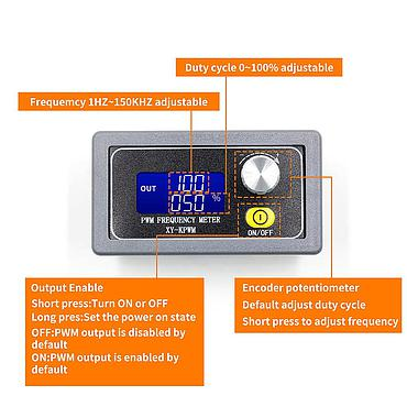 XY-PWM 1-Channel 1Hz-150KHz PWM Pulse Frequency LCD Display Signal Generator
