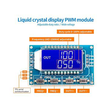 1Hz-150Khz 3.3V-30V PWM Pulse Frequency Duty Cycle LCD Display Signal Generator