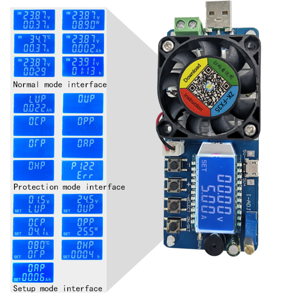 FX25 FX35 25W/35W USB Power Detector Battery Capacity Tester