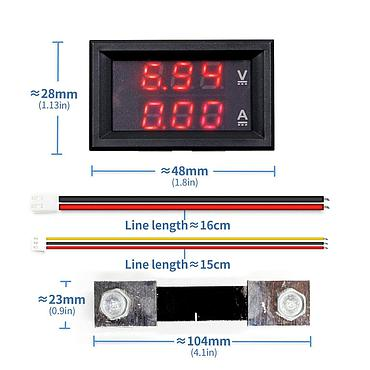 0.56'' DC100V 10A 50A 100A Blue Red Dual LED Display Mini Digital Current Voltage Meter