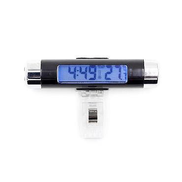 2 in1 Car Digital LCD Temperature Thermometer Automotive Blue Backlight Clock with Clip
