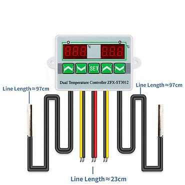 AC220V 12V 24V Digital LED Dual Probe Thermometer Temperature Controller Thermostat