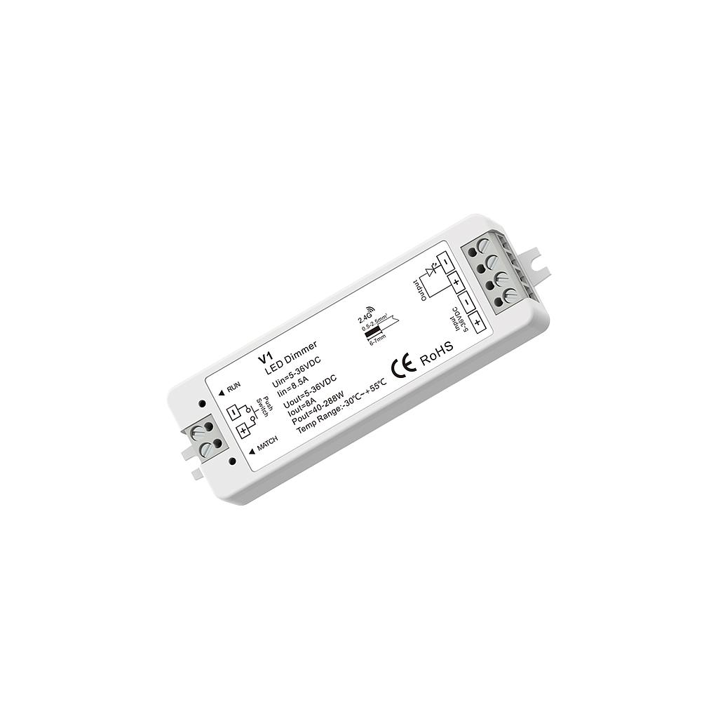 V1 DC5-36V RF2.4G 1 Channel Single Color PWM Constant Voltage Receiver Dimming Controller