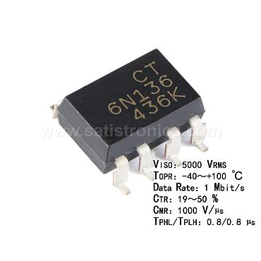 CT Micro CT6N136(S)(T1) SMD-8 Optocouplers Compatible 6N136S(TA)