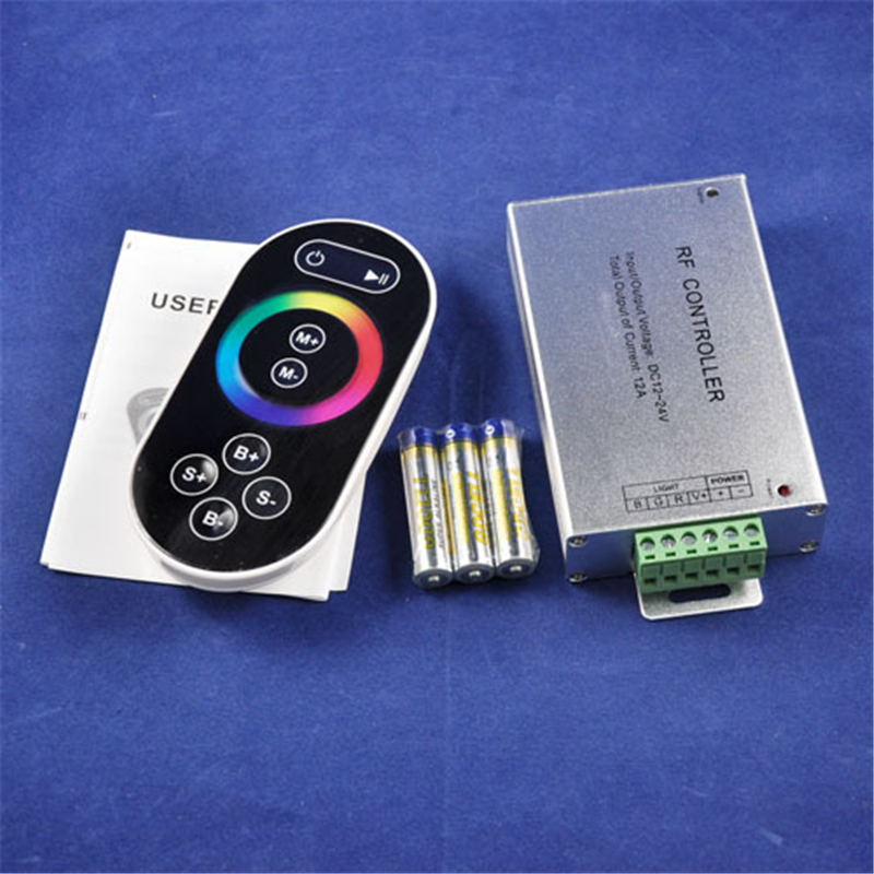 DC12-24V 3 Channels Aluminum Case LED RF RGB Touch Remote Controller w/ 8keys RF Remote