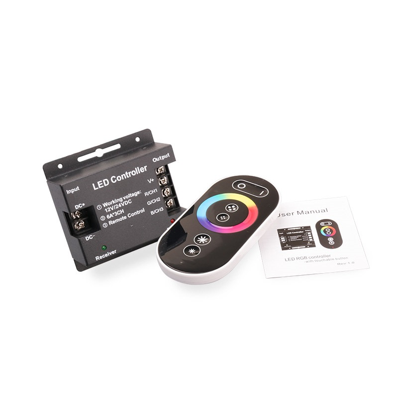 DC12V 24V 3CH Wireless LED RGB Controller RF Full Touch Remote Controller